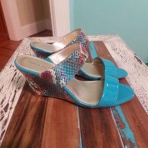 Bandolino Blue and snakeprint wedge sandals